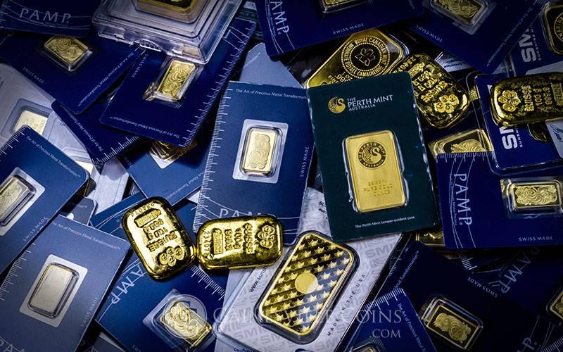 an assortment of gold bars