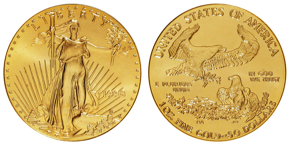1998 one ounce american gold eagle